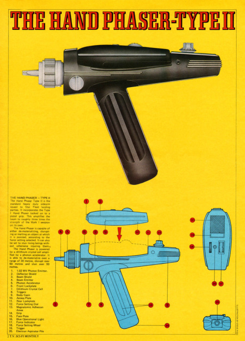 Anatomy of a Star Trek The Original Series phaser.  Sci-Fi Monthly | New English Library | 1976