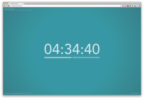 benjaminf:  The Colour Clock is a screensaver which represents time as a hexadecimal color value. Sent to us by Jack Hughes.