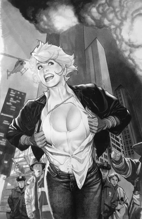 thehappysorceress:  Adam Hughes Power Girl  Adam's simply too good. Dead-set jealous, I am.