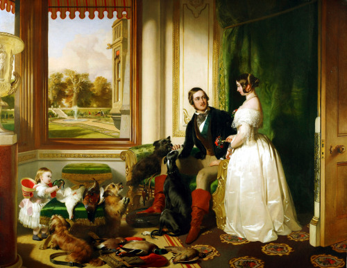 templehurst:  meringuemasquee:  Sir Edwin Landseer - Windsor Castle in Modern Times, 1840-43 Queen Victoria and Prince Albert at home at Windsor Castle in Berkshire, England.  Those boots!