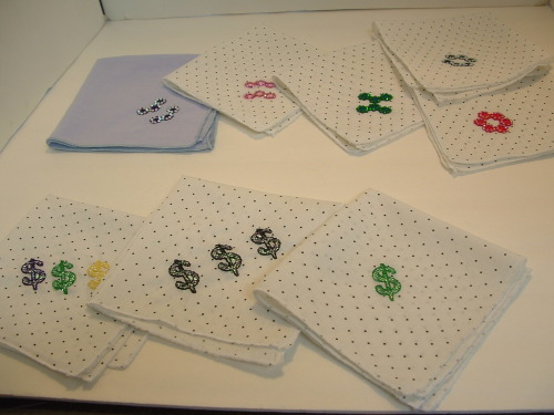 All of the hankies are now listed on Etsy.  Next, I need to digitize a logo for a new Mardi Gras krewe.  Then I hope to make a lot of scarves — all sorts and all embroidered with bling.  I just love doing this stuff.