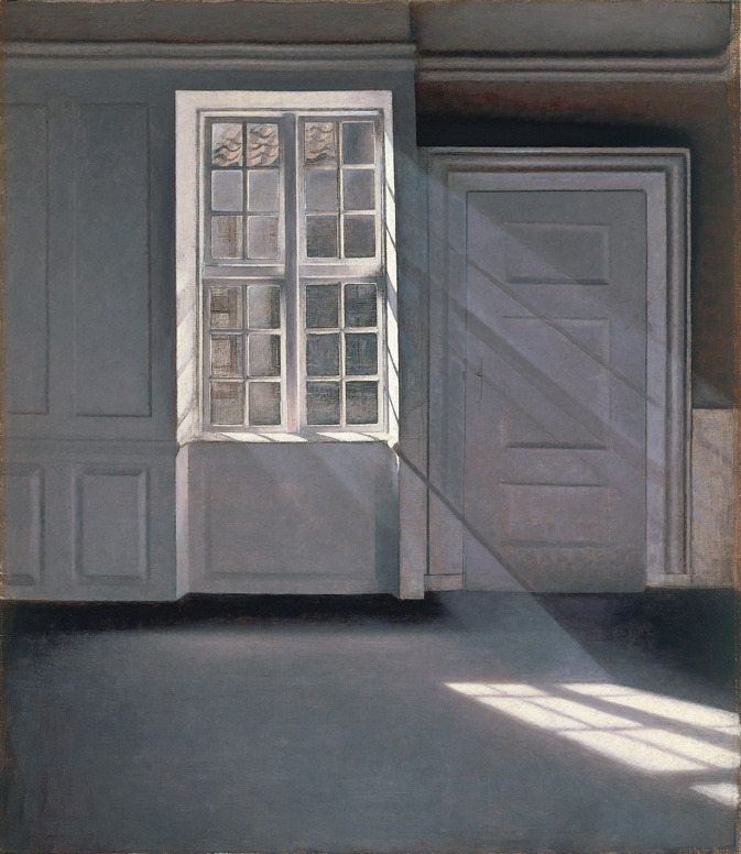 Vilhelm Hammershoi, Sunbeams or Sunshine. Dust Motes Dancing in the Sunbeams, 1900