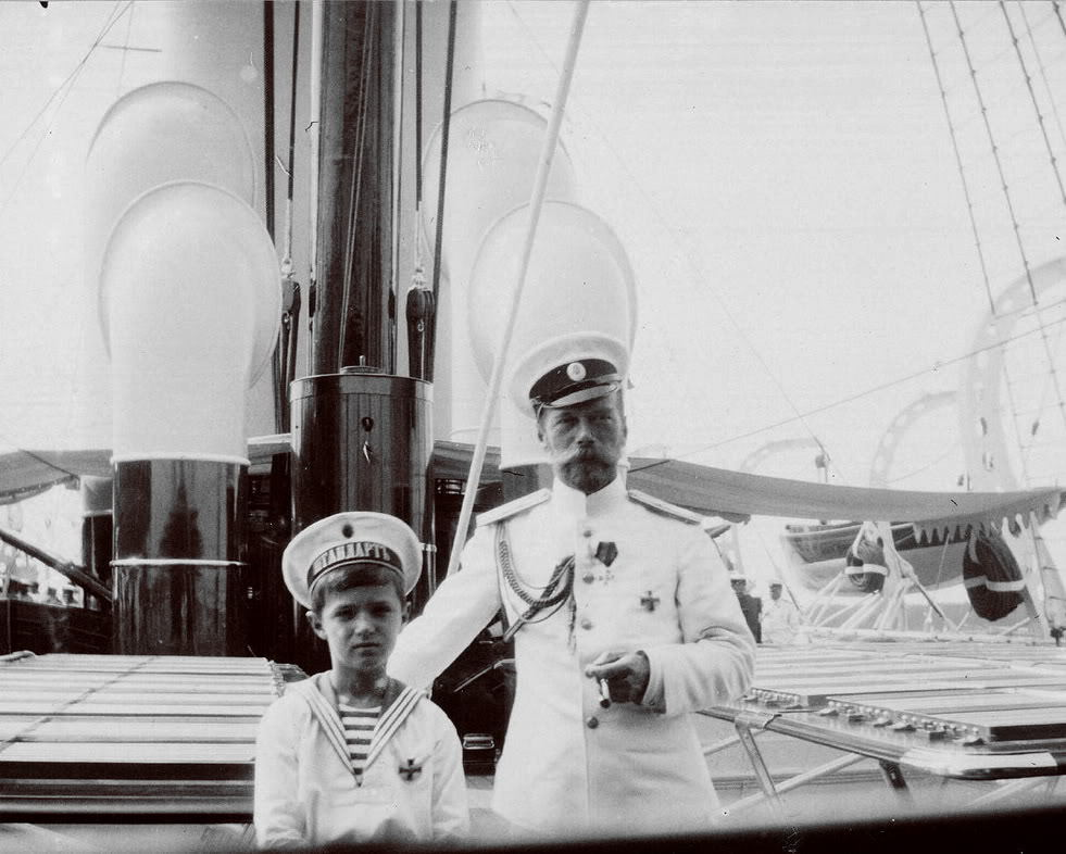 Tsarevitch Alexei and Tsar Nicholas II of Russia.