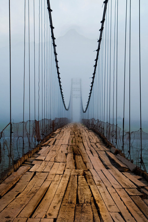 fuck-yeah-tumblrs-best-posts:  This post has been featured on The Best of Tumblr Blog -  Found on the blog of llbwwb: Woren and Repaired Swinging Bridge by arkaleks  Follow Now | This is Great!