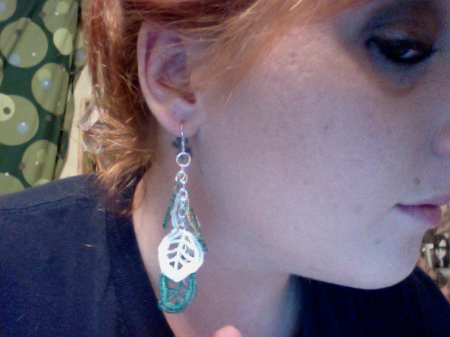 Nessa made me earring for my b-day! I finally got to wear them out last night… (Please excuse the left over make-up after a night of partying.)