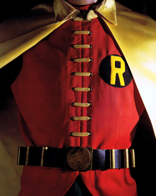 Burt Wards's original Robin costume photographed by [Chip Kidd]. Scanned from Batman:The Complete History (Chronicle Books/1999).