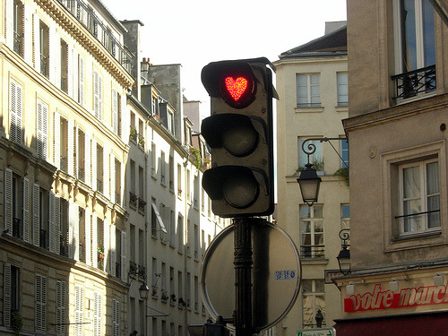 Someone sang: Stop, in the name of love! :D  sunsurfer:  Traffic Light, Paris, France photo via rosegirlgold