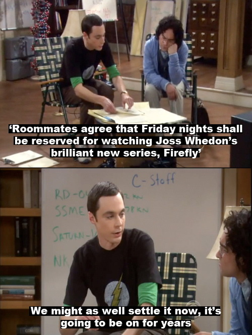 sofiaiam:  One of my favourite Big Bang Theory moments. When is Nathan Fillion going to guest on it already?