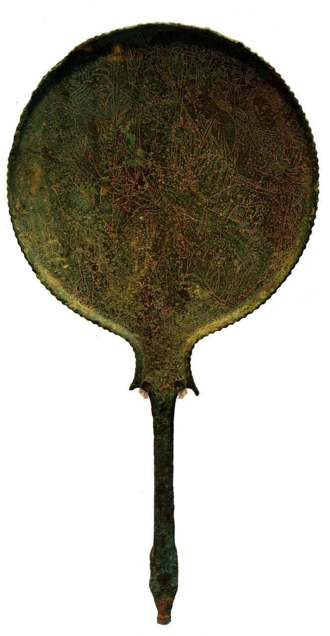 Etruscan mirror with Meleager and Atalante 330BC http://commons.wikimedia.org/wiki/File:Etruscan_mirror_with_Meleager_and_Atalante_330BC.jpg