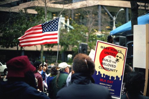 MLK March, Seattle. Leica M2 + 40mm M-Rokkor f2, Kodak Portra 400.