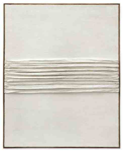blackv:  PIERO MANZONIAchrome1959Kaolin and folded canvas on Hessian32 1/2 x 26 3/8 inches82.5 x 67 cm