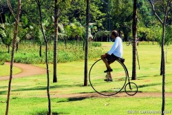"Have a look at the old style cyclist at Parque do Povo on a special sunday morning, when an extension of ""Sao Paulo sunday bike lane"" was released."