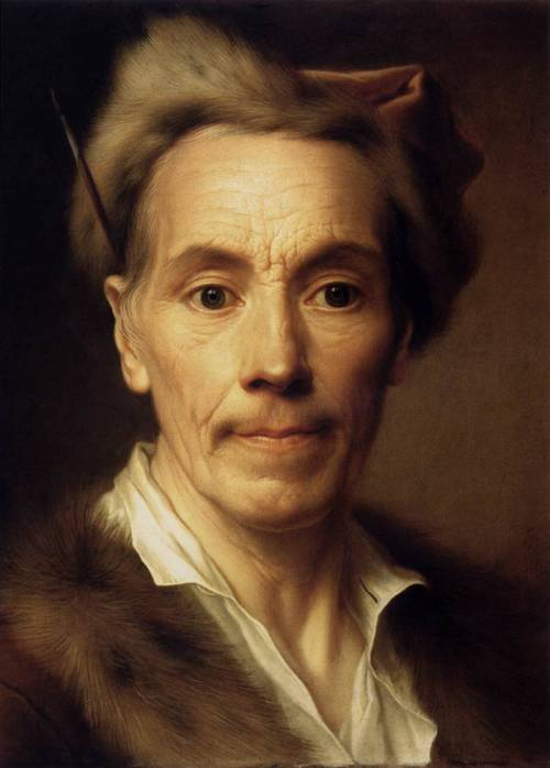 Self Portrait as an Old Man by Christian Seybold (German, 1697-1768), undated, oil on copper, 41 x 30 cm, Fine Arts Museum, Budapest Have you ever seen something more meticulously elaborated? (It's probably due to the plain surface of the copperplate on which it is painted. I wonder what brush he used…) A photo from the 18th century.
