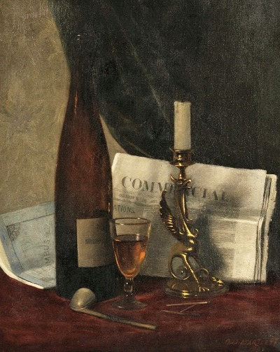 Clarence Drew Bartlett Still Life with Newspaper, Candle, Pipe and Wine Glass 1880-89
