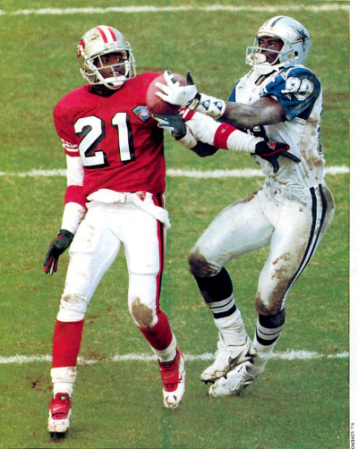 Football Sunday 1995 NFC Championship Deion Sanders and Michael Irvin (Picture scanned from Sports Illustrated)