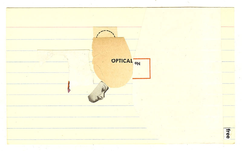 artspotting:  Fred Free, peeking as in his, collage on index card  so many horrible collages on tumblr. thankfully, fred free is awesome.