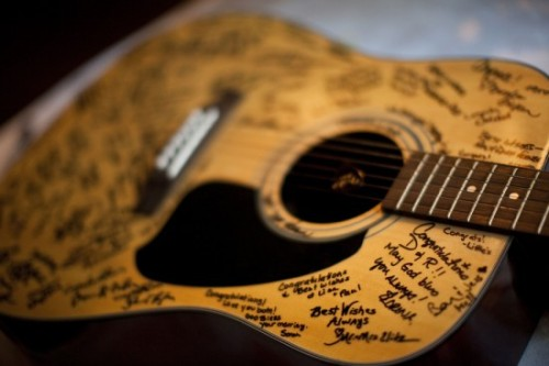 Guests of the bride and groom were invited to sign the guitar instead of a typical guest book!
