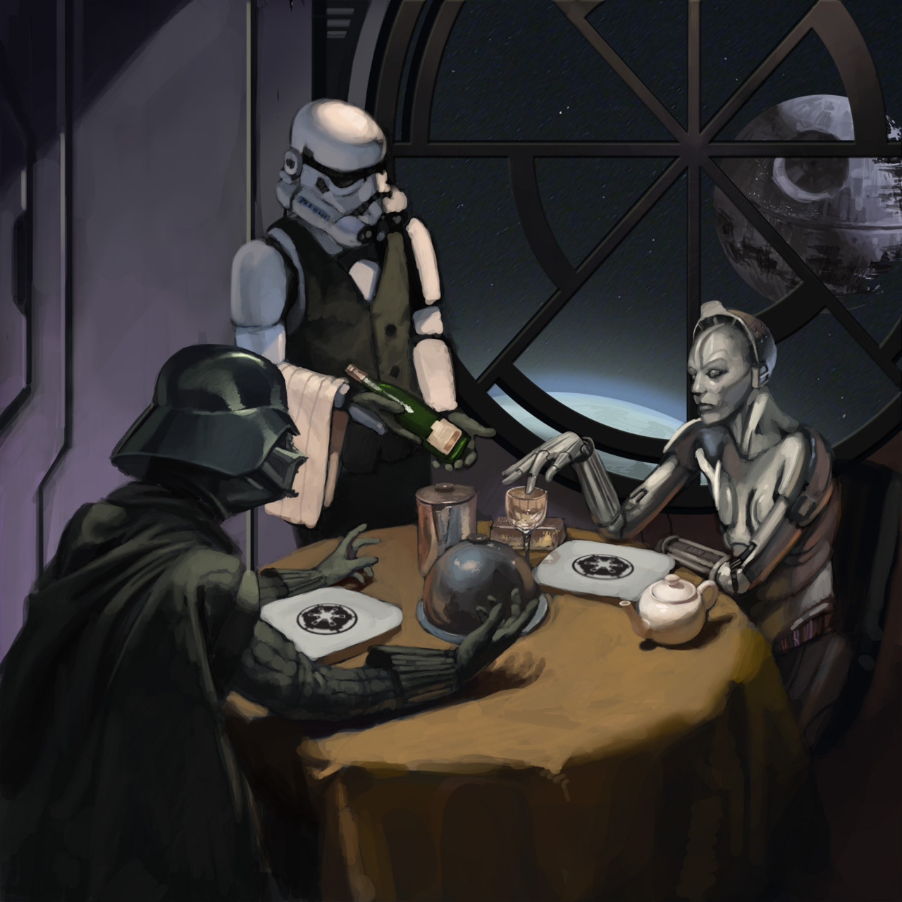 ianbrooks:  Star Wars Date Night by Andrew Theophilopoulos Darth Vader and the maschinenmensch from Metropolis? That's a lot of robotic parts that would need oiling.