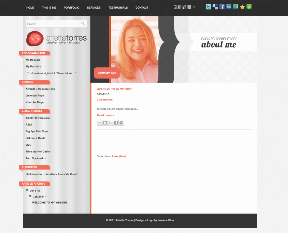 Web Design Makeover: Arlette Torres' Website