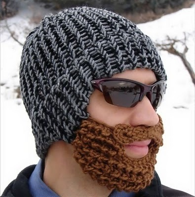 Knitted beard warmer - looks weird, but I am sure it keeps your face nice and warm. Therefore thumbs up!