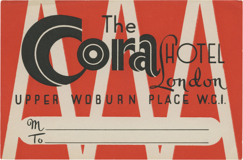 The Cora Hotel, London (90mm x 136mm) by David George Pearson (from Ephemera)