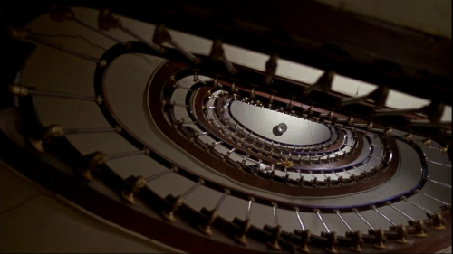 "The staircase. A still from Roman Polanski's 1976 film, The Tenant., the final movie in his ""Apartment Trilogy"" along with Repulsion (1965) and  Rosemary's Baby (1968) Starring Roman Polanski and Isabelle Adjani."