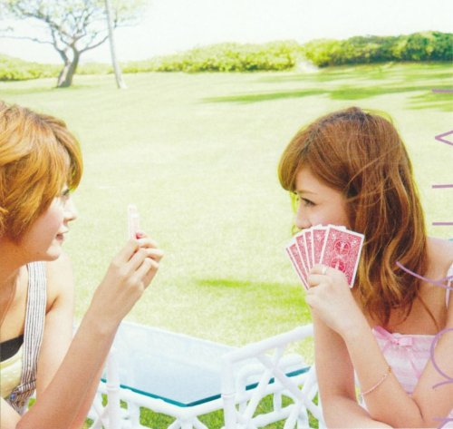 The two Berryz girls Chinami and Miyabi enjoy a game of cards.