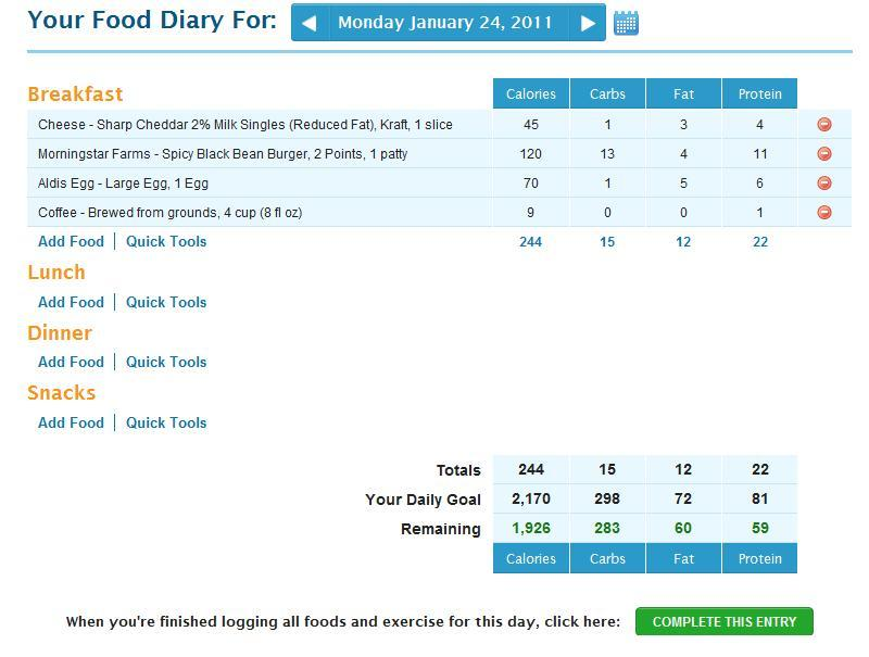 mikesova:  So, I'm keeping a food diary, now? I signed up for an account at My Fitness Pal on the advice of my wife.  I am hoping that keeping track of my food intake will help me limit what i'm eating and combined with exercise will help me lose some weight.  If anybody else wants to do it, let me know, we can be friends on it. :)   I used to use My Fitness Pal… I really liked it a lot! I restarted today, so we can be friends… :)