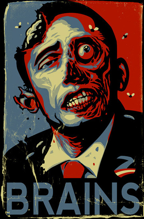 "Even more Obama Zombie Art ""Brains"""
