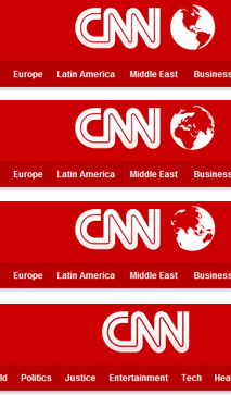 CNN - Globe perspective rotates depending on the content of the section and appears randomly on the homepage. /via Koen Claes