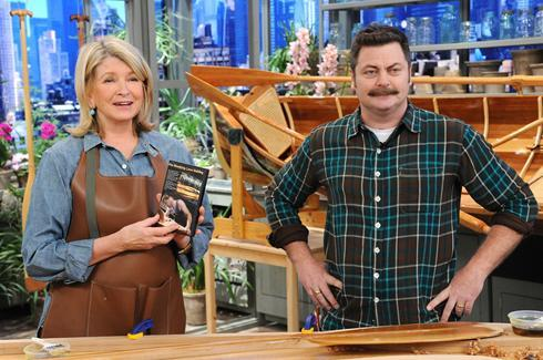 thechaushow:  nick offerman on the martha stewart show.  he really carves things out of wood! he has a website about his wood work  Megan Mullally is a lucky, lucky woman.