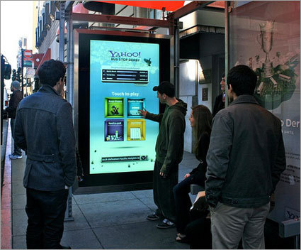 AdFreak: Yahoo!'s bus-shelter games start city rivalry Bus Stop Derby campaign: Interactive social games on the walls of bus shelters pit SF neighborhoods against each other; the neighborhood that wins gets a free concert from OK Go.