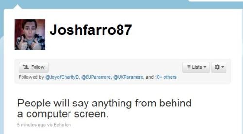 usparamore:  Really, Josh? Really??  I dislike him more and more…