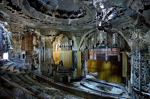 United Artists TheaterThis spectacular Spanish Gothic theater, built in 1928, was closed in the 1970s. The Decline of Detroit.