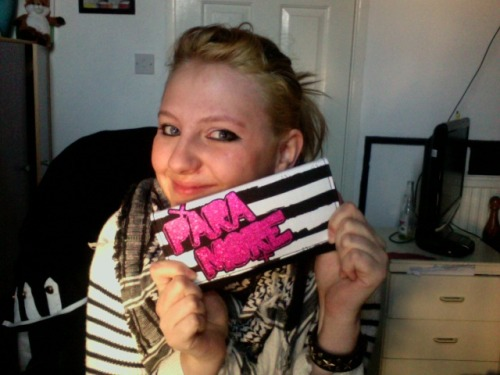 Posed with my new Paramore purse I got as a birthday present from my man! The month wait was definitely worth it!!