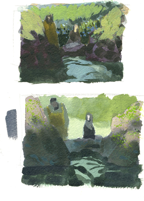 "Today was not fun.  Here are two versions of the color key for a painting I""m working on.  Hopefully it'll be a compromise between them. Here's what I'm listening to today: http://www.youtube.com/watch?v=QhARR-zmTCE  (But the version from the King's Speech— It's a bit slower.)"