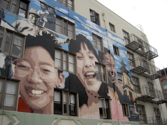 Cool face art in San Francisco. (Who's this artist?)