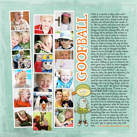 These multi-photo pages are so inspiring! And I love Janet Phillips' templates…might have to do some shopping sometime soon. THE DAILY DIGI:: Digital scrapbooking tutorials, reviews, and resources » Blog Archive » Different Time, Different Place…One Memory