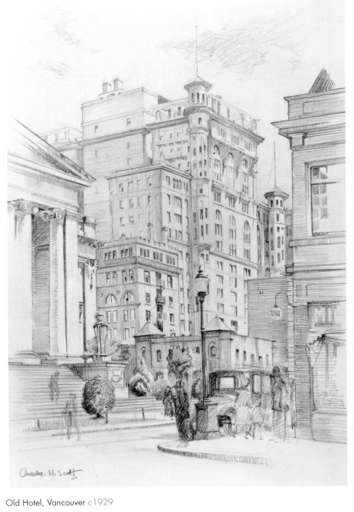 Old Hotel Vancouver, a sketch by Charles Hepburn Scott circa 1929, featuring the Art Gallery steps and the second Hotel Vancouver (now the site of the Sears building). From the VAG's 1989 Charles Hepburn Scott publication.