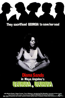 Diana Sands in the 1972 poster for the film, Georgia, Georgia. The screenplay was written by Maya Angelou.