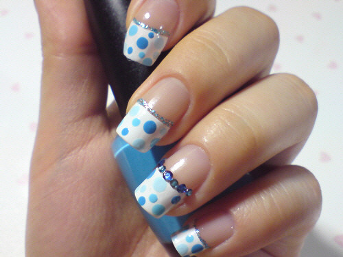 click through for tutorial (in my korean blog) summer dot nailart