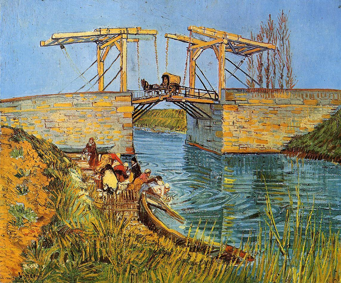 "The Langlois Bridge at Arles with Women Washing (Otterlo, Kröller-Müller Museum; 1888) Oil on canvas54.0 x 65.0 cm.  Van Gogh thought of Arles as a French counterpart to the world he saw in the Japanese prints: clear air, blossoming trees, and the local people purposefully working in harmony with nature. He longed to see ""nature under a brighter sky"" to better understand what inspired the artists in Japan. He approached the subject of the Langlois Bridge mindful of the Japanese example, employing clear color and emphasizing the linear patterns of the bridge structure against the sky."