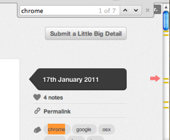 Chrome - Marks the position of cmd-F search matches on the scrollbar. /via Saul Cozens