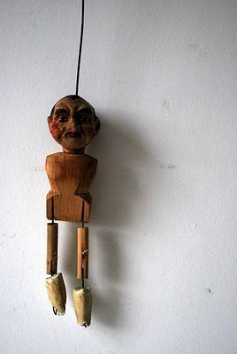 fullbloom:  Zeitgeist: Marionette with wooden body and funny face,circa 1910,England