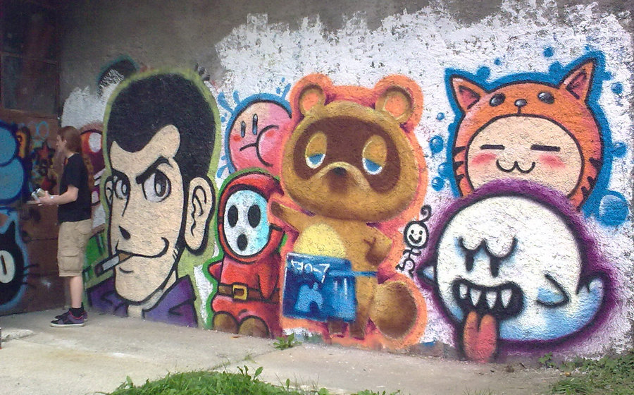 Daily Graffiti: Tom Nook, Lupin III, Shy Guy, Boo, Kirby, and a cat thing. [Via Lofo] Check  out the Daily Graffiti Archives for more geektastic street art!