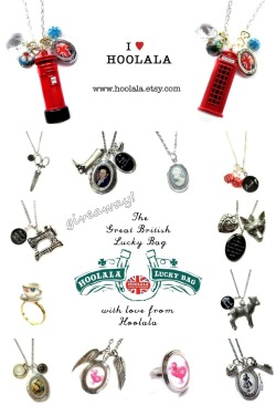 Hoolala is holding a giveaway! Check out their British-themed jewellery including Alice in Wonderland, Pride & Prejudice, Letterboxes, Red Telephone Boxes, Singer Sewing Machines and Scissors, Tea, Black Sheep, Badges, Buttons, Rings, Bracelets, Necklaces, Brooches and more!!! Re-blog this post for a chance to win: $5 Great British Lucky Bag $10 Great  British Lucky Bag $15 Great British Lucky Bag Add a link or tell us your favourite item or theme from the store when you re-blog so we know what you like! Winners to be announced February 1st…                               ———————————————————— And the winners are: whitejanuary.tumblr fairbluemoon.tumblr optalk.tumblr Congrats! (Messages have been sent to you :)