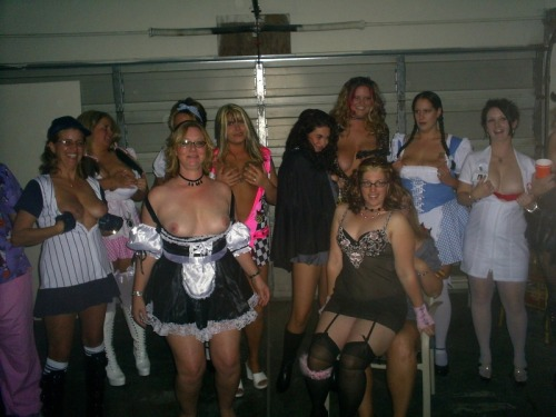 Halloween sluts flashing their tits.