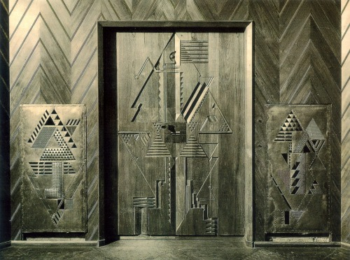 thedailypropagandist:  Joost Schmidt (German, 1893-1948), Front door and heating cladding in the Haus Sommerfeld, Berlin, 1921.