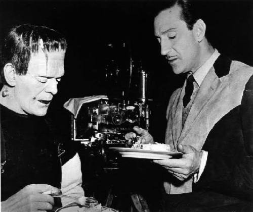Boris Karloff and Basil Rathbone enjoy some cake on the set of The Son Of Frankenstein - (1939)