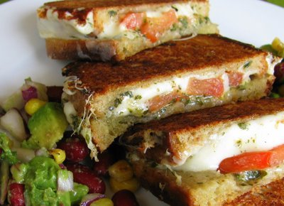 boyfriendreplacement:  Bidding adieu to Grilled Cheese Month and ushering in a colorful spring with a Mozzarella Grilled Cheese Sandwich, with Avocado Salad. Recipe